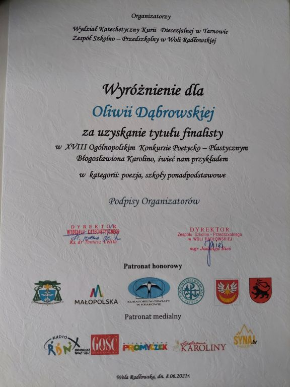 dyplom wyróżnionej w konkursie Oliwii Dąbrowskiej